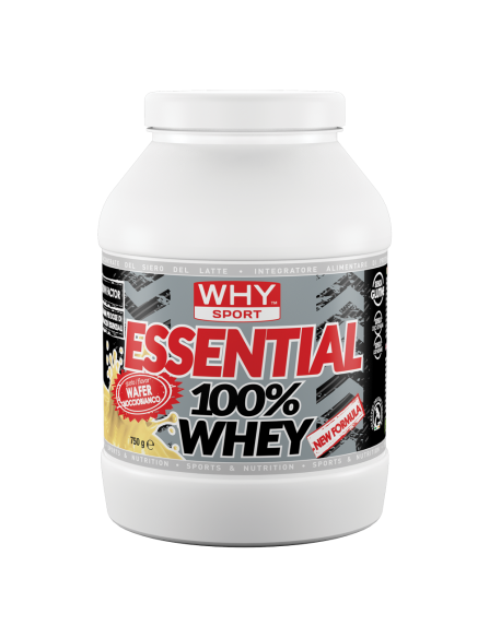WHY SPORT ESSENTIAL 100% WHEY 750GR, WAFER NOCCIO-BIANCO, PROTEINE CONCENTRATE